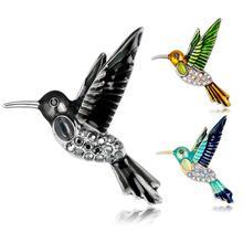 Горячая Новая мода западный стиль Сплав колибри брошь со стразами булавка аксессуары для одежды