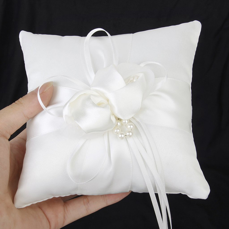 white satin flower appliques wedding ring pillow handmade