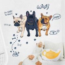 Наклейка на стену с французским бульдогом для гостиной, спальни, креативная Наклейка на стену с собакой для детской комнаты, домашний декор, декоративные наклейки на дверь
