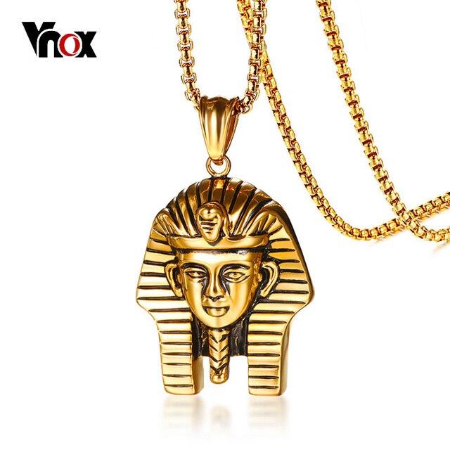 29b278b99614 € 5.75 45% de DESCUENTO|Vnox egipcio Faraón colgante para hombres collar  Color oro 24