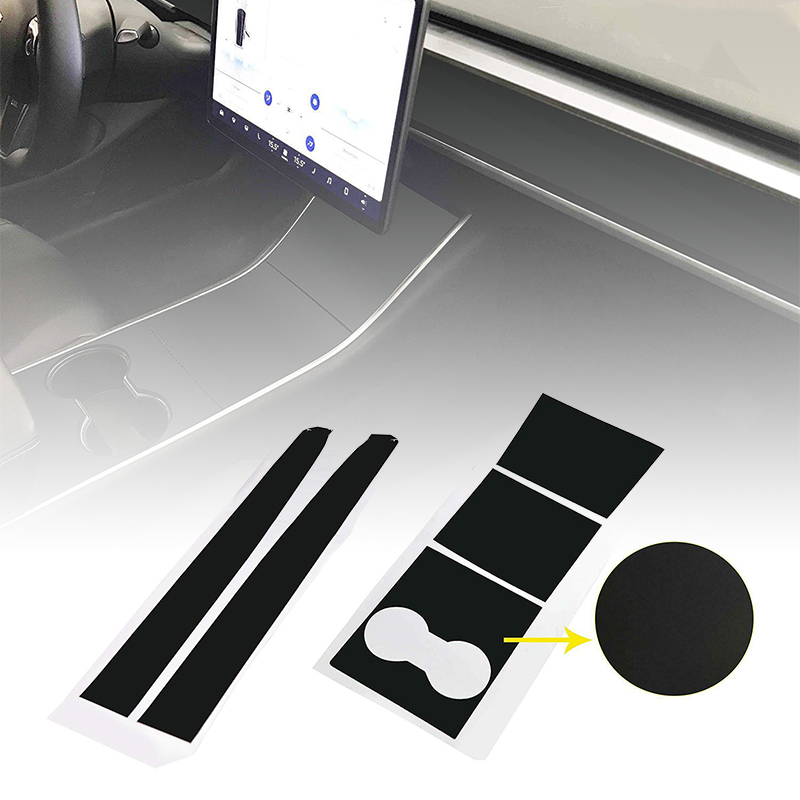 Matte Black Car Center Console Dashboard Vinyl Wrap Stickers For Tesla Model 3 Cup Holder Stickers Car Interior Accessories
