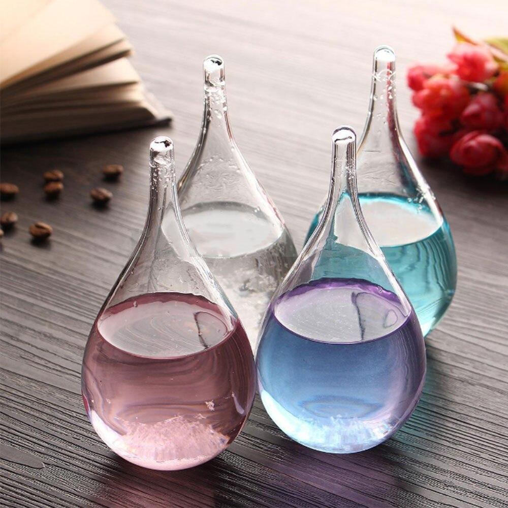 Gota de agua de diseño creativo pronóstico botella de vidrio botella de tormenta barómetro creativo adornos Decoración de casa