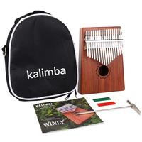 Kalimba Thumb Piano 17 Keys With Mahogany Wooden With Bag, Hammer And Music Book, Perfect For Music Lover, Beginners, Children
