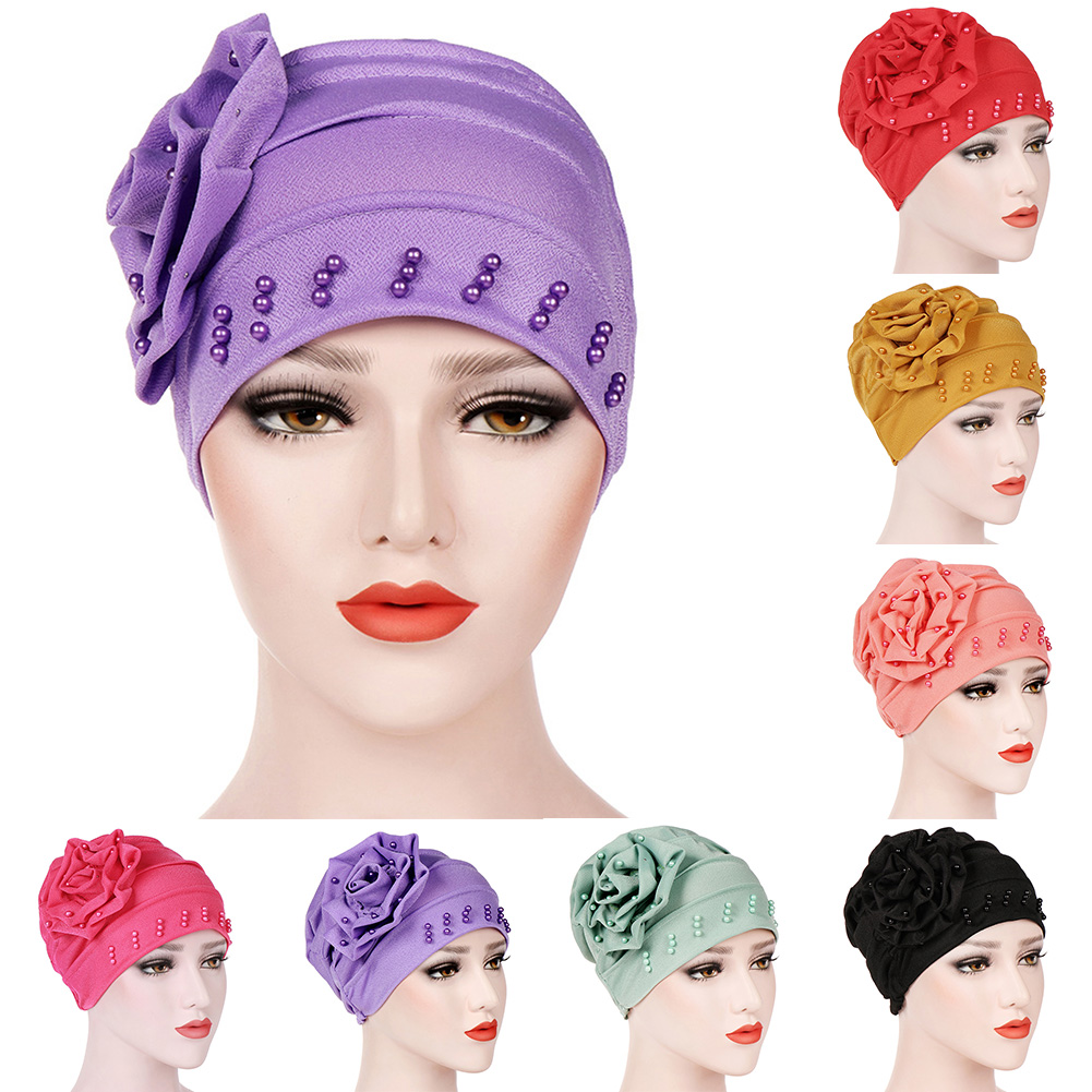 Image 2 - Fashion Women New Style Ruffled Big Flower Scarf Cap Muslim Head  Wrap Cap Chemo Turban Ladies Bandanas Hair AccessoriesWomens Hair  Accessories