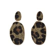 2019 Leopard Metal Earrings for Girl Animal Print Round Punk Pendientes Big