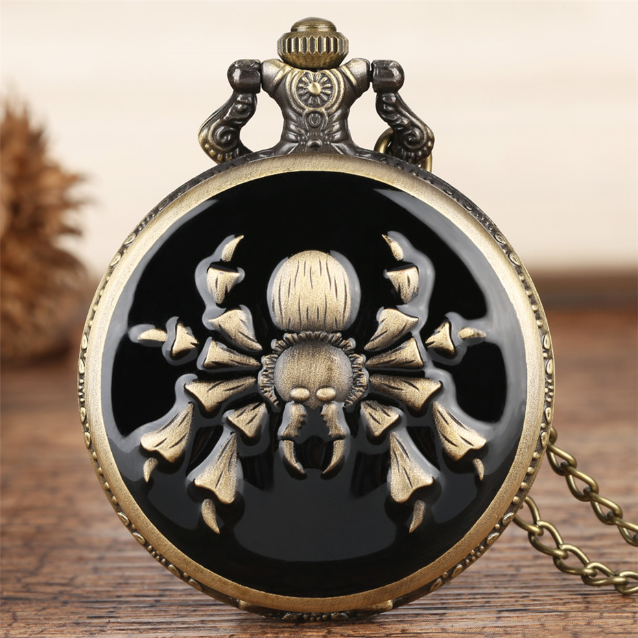 Punk Cool Spider Design Fob Quartz Pocket Watch Full Hunter Bronze Necklace Clock For Men Women Pendant Watch Jewelry Gifts
