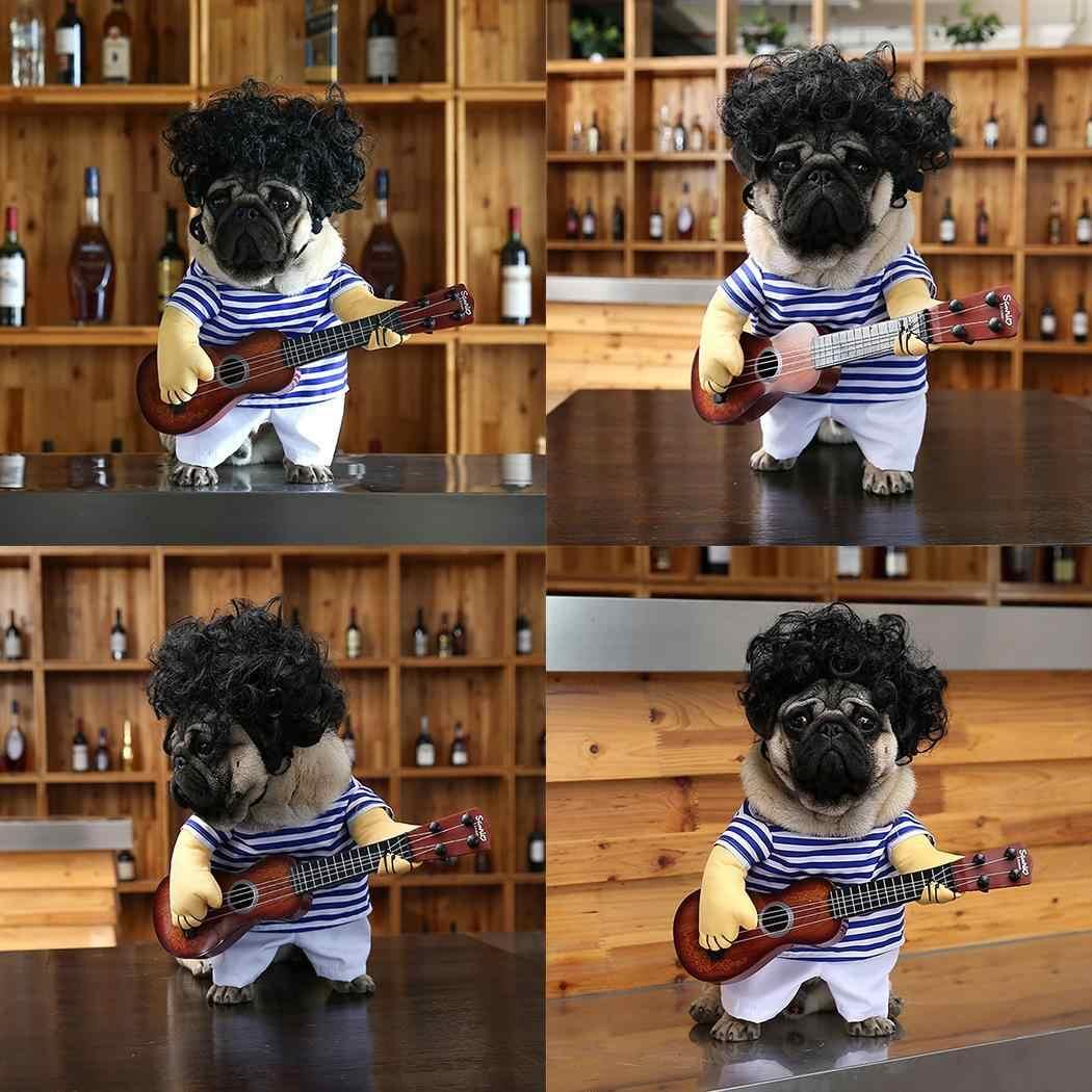 Щенок Забавный 1 комплект косплей не парик с одеждой Кот включает пальто костюм и Костюм Собака гитара собака гитара животное привлекательный