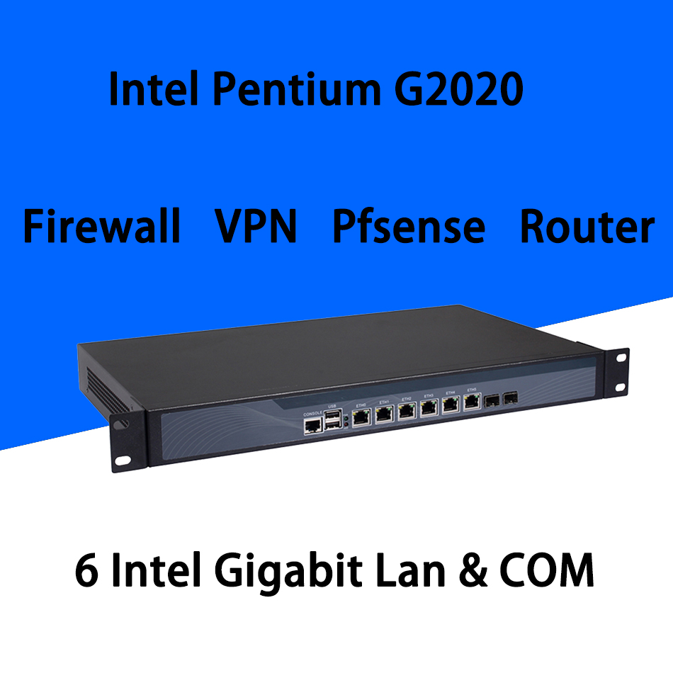 Firewall Mikrotik Pfsense VPN Network Security Appliance Router PC Intel Pentium G2020,[HUNSN SA11R],(6LAN/2USB/1COM/1VGA)
