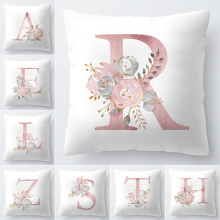 Наволочка для подушки с буквенным принтом 45x45 см, с английским алфавитом для дома, товары для дома, 1 Наволочка из полиэстера с цветами