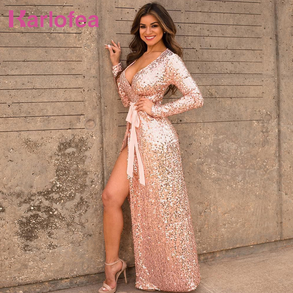 Karlofea Sexy V Neck Birthday Sequined Dress Long Sleeve Evening Party Maxi Vestidos Shiny Rose Gold High Split Runway Dresses