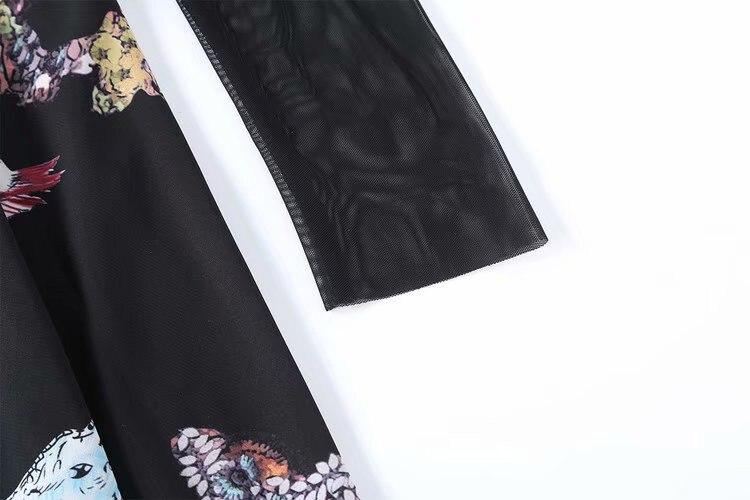 Longueur Patchwork Dropshipping Sheer Piste 2019 Haut Mesh Longues Robes Printemps Ligne Col Manches Animal Noir Une Robe Midi À apC4qw