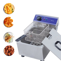 Home Use Electric Deep Fryer Multifunctional Household Commercial Stainless Steel Grill Frying Pan French Fries Machine
