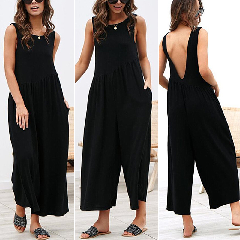 7790065247 Ladies Romper Round Neck Sleeveless Beach Loose Jumpsuit Backless Wide Leg  Solid