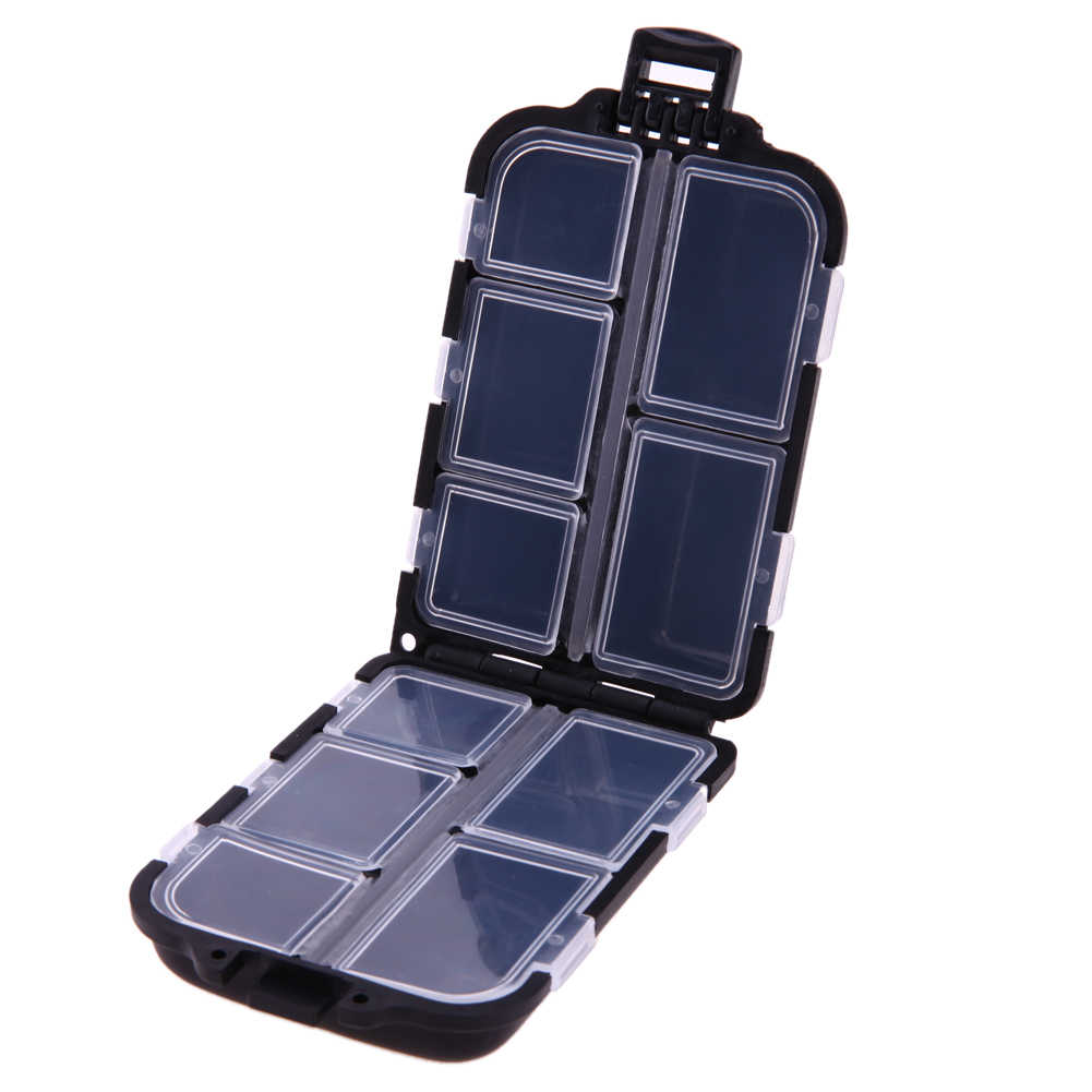 10 Compartments Mini Fishing Tackle Box Waterproof Storage case for Small Clear Plastic Hooks Lures Baits Fishing Accessories