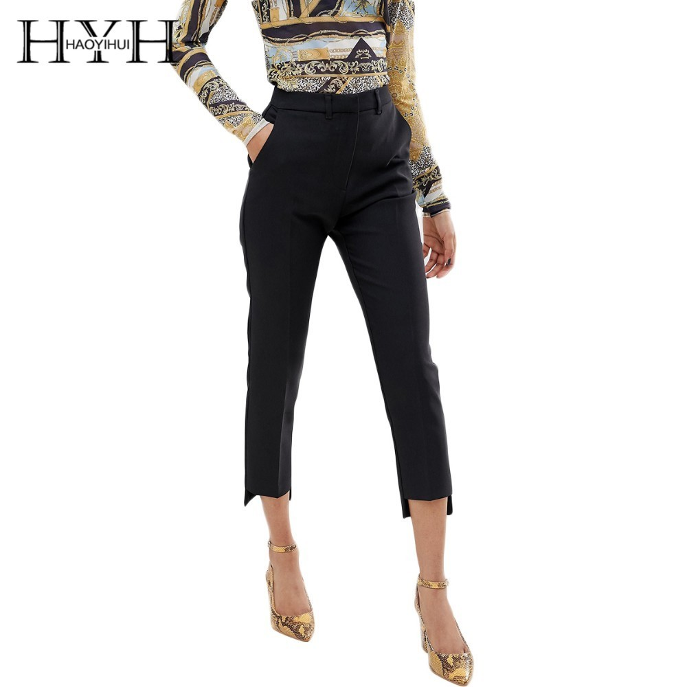HYH HAOYIHUI 2019 New Pants Women Cropped Trousers Black Straight Front  Easy To Wear