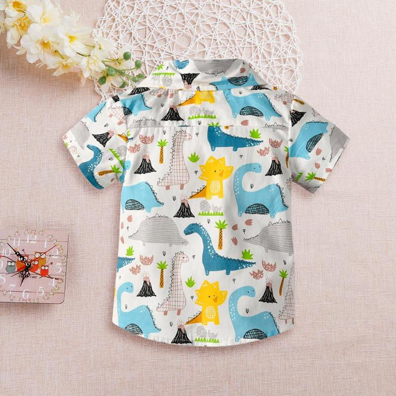 Toddler Infant Baby Boys Short Sleeve Dinosaur Printed Turn Down Collar Shirts