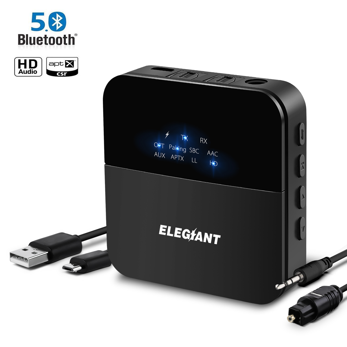 ELEGIANT bluetooth 5.0 Audio Transmitter Receiver AptX HD AptX LL Adapter Optical Toslink RCA Plug/3.5mm AUX for Car Headphones