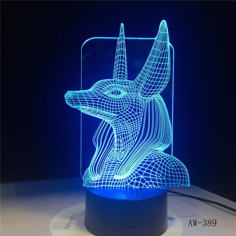 7 Colors Change Egypt Anubis 3D Bulbing Lamp Illusion Colors