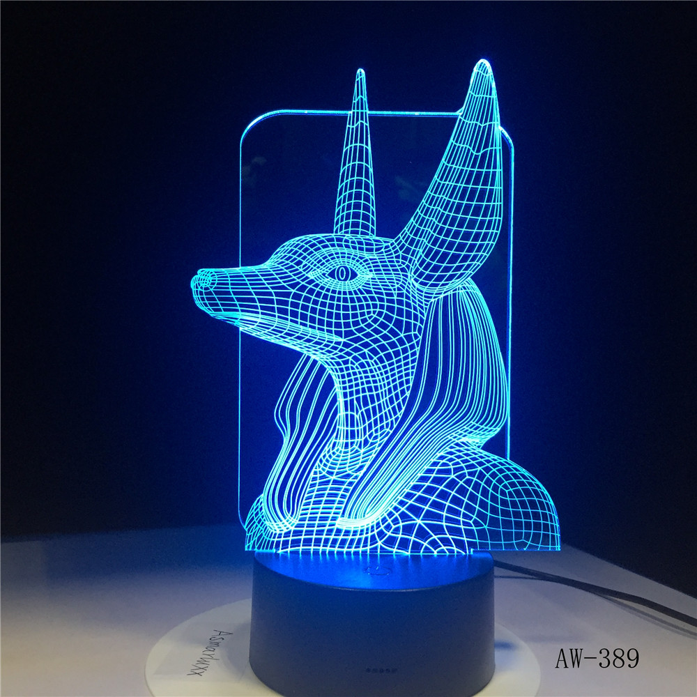 7 Colors Change Egypt Anubis 3D Bulbing Lamp Illusion Colors Changing Desk Light With Black Touch Base Decor Night Light AW-389