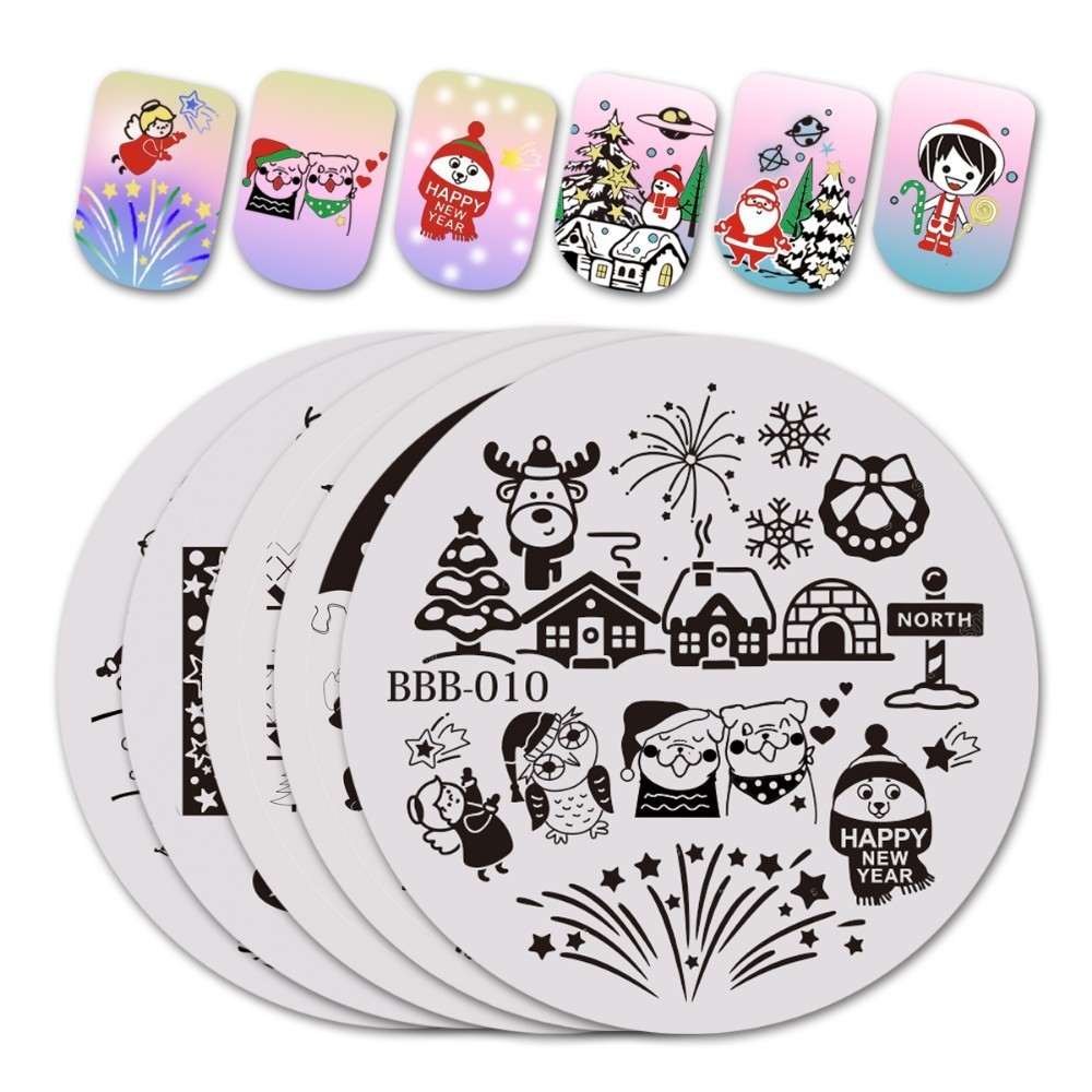 Image 2 - BeautyBigBang 5.6*5.6 Cm Round Christmas Series 2 Nail Stamping Template Plates Image Polish Transfer DIY Tools For Nail Art-in Nail Art Templates from Beauty & Health