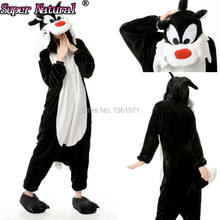HKSNG Schwarz Wolf Kigurumi Onesies Pyjamas Tier Winter Cartoon Warme Fleece Erwachsene Für Halloween Party(China)