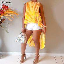 2018 New Fashion Summer Women Stylish Yellow Sleeveless Asymmetrical T-shirt Tie Dye Swallow-tailed Irregular Top Xnxee