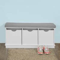 Wooden Storage Bench 3 Drawers & Removable Seat Cushion Storage Cabinet Unit SoBuy FSR30 W