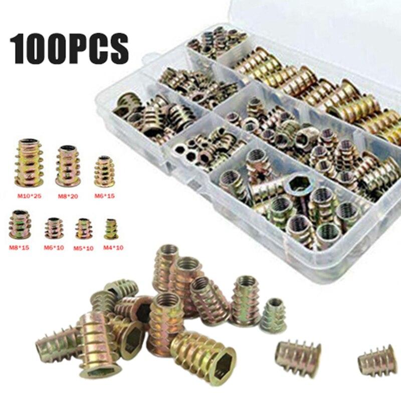 100pcs Zinc Alloy Furniture Hex Socket Screw Inserts M4 M5 M6 M8 M10 Threaded Hex Drive Inserts Wood Screw Inserts Nuts Tool Kit