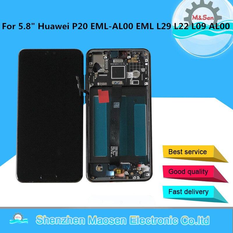 D'origine Cadre M & Sen Pour 5.8 Huawei P20 AL00 LCD écran de visualisation numériseur à écran tactile Avec Empreintes Digitales P20 EML L29 L22 l09 AL00