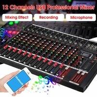 12 канальный караоке аудио профессиональный микшер Bluetooth для студий с живым звуком микшерный пульт Цифровой аудиомикшер с USB 48 В, штепсельная