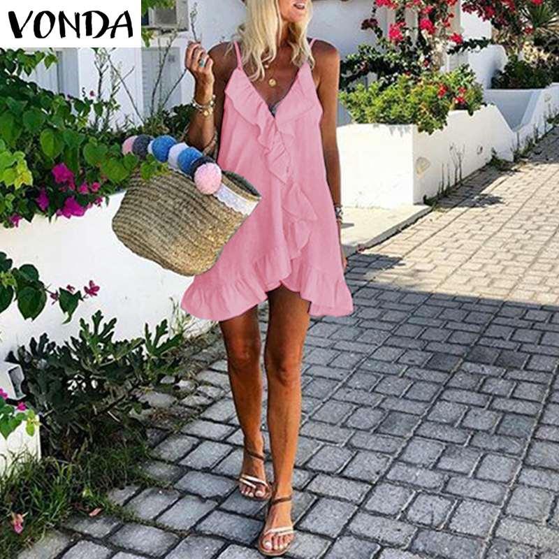VONDA 2020 Summer Mini Dress Bohemian Women Sexy Sleeveless Irregular Hem Ruffle Beach Holiday Dersses Plus Size V Neck Vestidos