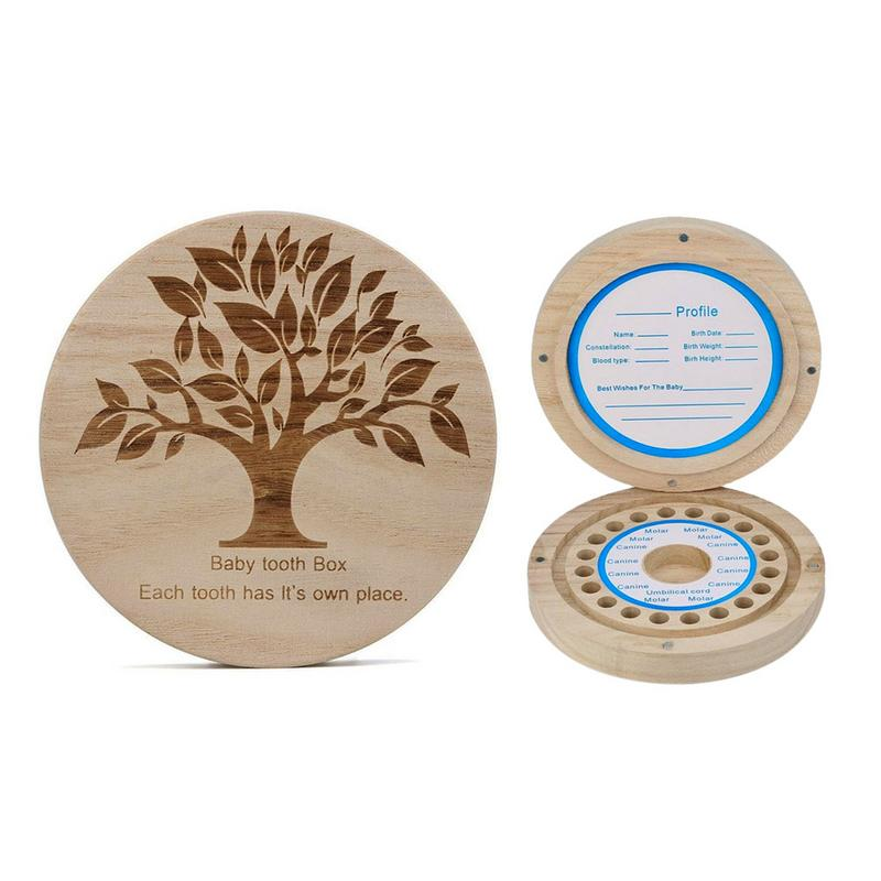Baby Deciduous Box Round Children's Teeth Baby Hair Collection Storage Box Wooden Deciduous Teeth Collection Box