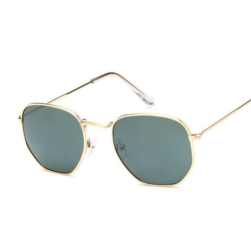 Hexagon Sunglasses Men Classic Brand Flat Lens Clear Sun Glasses Male Female Retro Small Metal Frame Square Glass