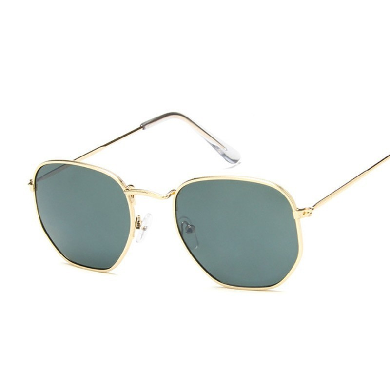 Hexagon Sunglasses Men Classic Brand Flat Lens Clear Sun Glasses Male Female Retro Small Metal Frame Square Glass image