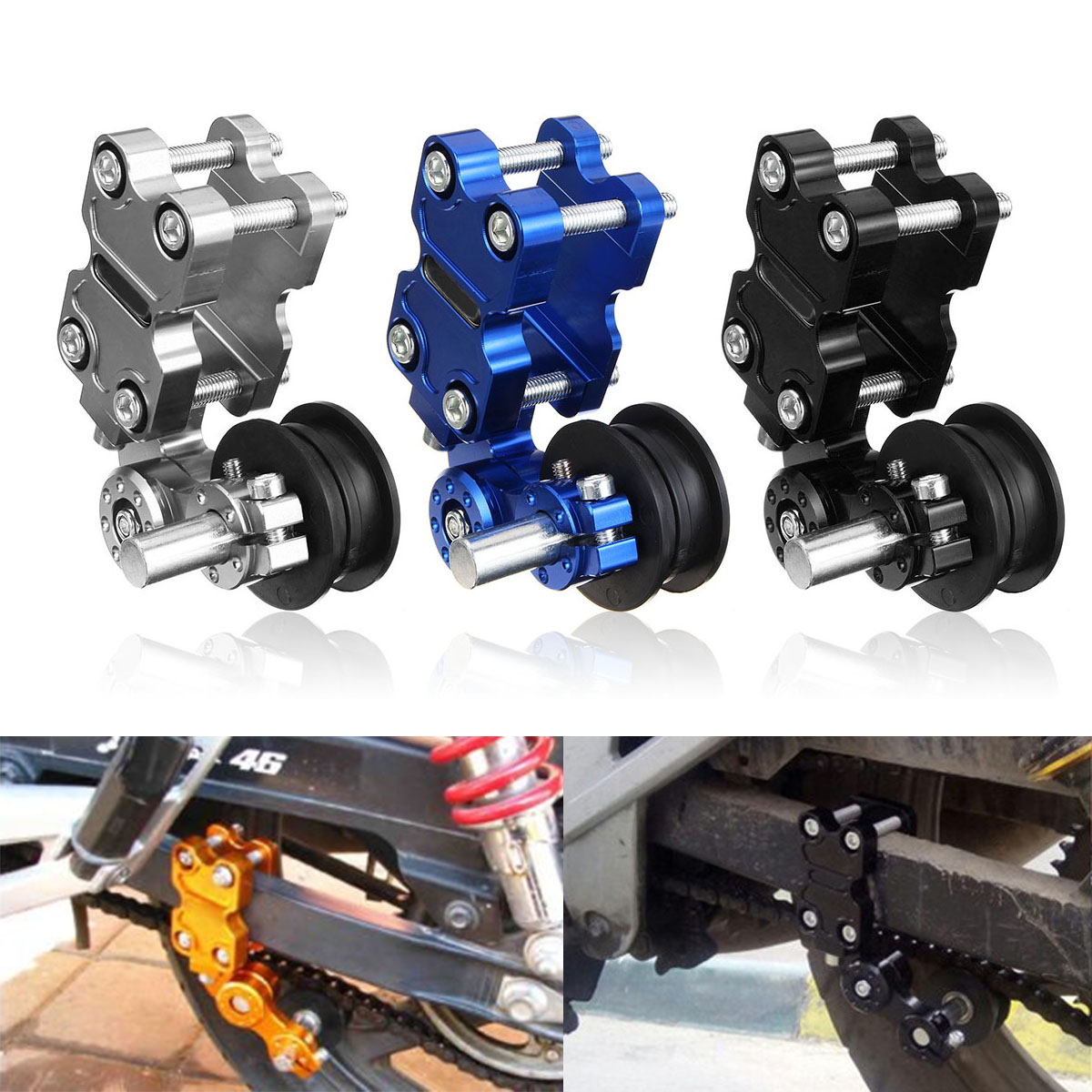Tensor de cadena de la motocicleta Ajustador del cadena universal para mayor/ía de las motocicletas negro