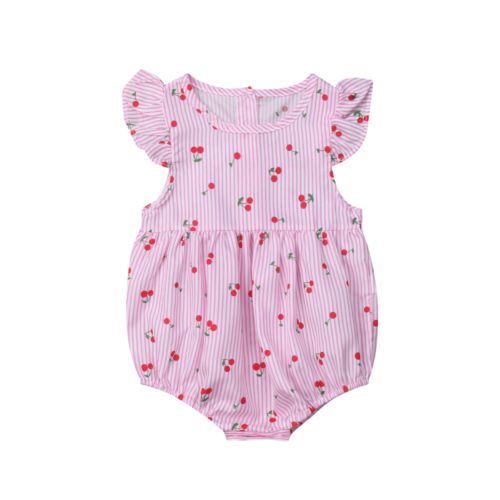 d580d0e9f9c5 Newborn Infant Baby Girls Clothes Fly Sleeve Striped Cherry Romper Casual Cute  Summer Jumpsuits Outfits Clothing Baby Girl 0 18M-in Bodysuits from Mother  ...