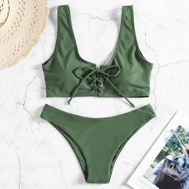 Scoop Neck Backless Bikini 2019 Padded Solid Color Lacing-Up Low Waist Two-Piece Swimwear Women Swimsuit Biquini Femme