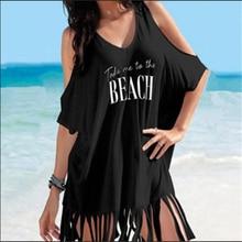 cd5834c80a Summer Women Half Sleeve Loose Bathing Suit Letter Off Shoulder Tassels  Bikini Swimwear Cover Up Beach