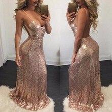 Sexy Prom Dresses Long 2020 Cheap Deep V neck Sleeveless Spaghetti Strap Sequined Sparkle Mermaid  Prom Dresses Vestido De Festa