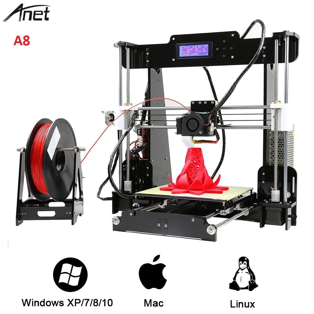 Anet A8 haute précision 3D imprimante Kit 220x220x240mm 100 mm/S haute précision bricolage 3D imprimante de bureau Support ABS/PLA/bois/PVA/PP