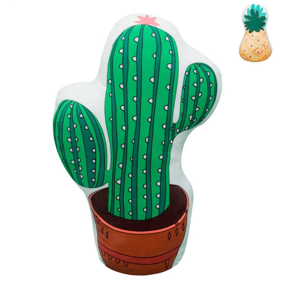 Kid Cactus/ananas Vormige Pluche Beide Zijden Afdrukken Planten Vruchten Sofa Stoel Kids Cot Decoratieve Kussen Kussen/kussen Katoen