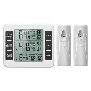Image 1 - ميزان حرارة الثلاجة الرقمية الفريزر ميزان الحرارة مع مراقبة درجة الحرارة في الأماكن المغلقة 2 أجهزة الاستشعار اللاسلكية الثلاجة إنذار مسموع