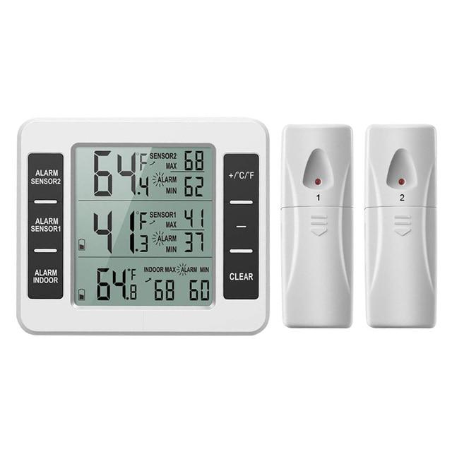 ميزان حرارة الثلاجة الرقمية الفريزر ميزان الحرارة مع مراقبة درجة الحرارة في الأماكن المغلقة 2 أجهزة الاستشعار اللاسلكية الثلاجة إنذار مسموع