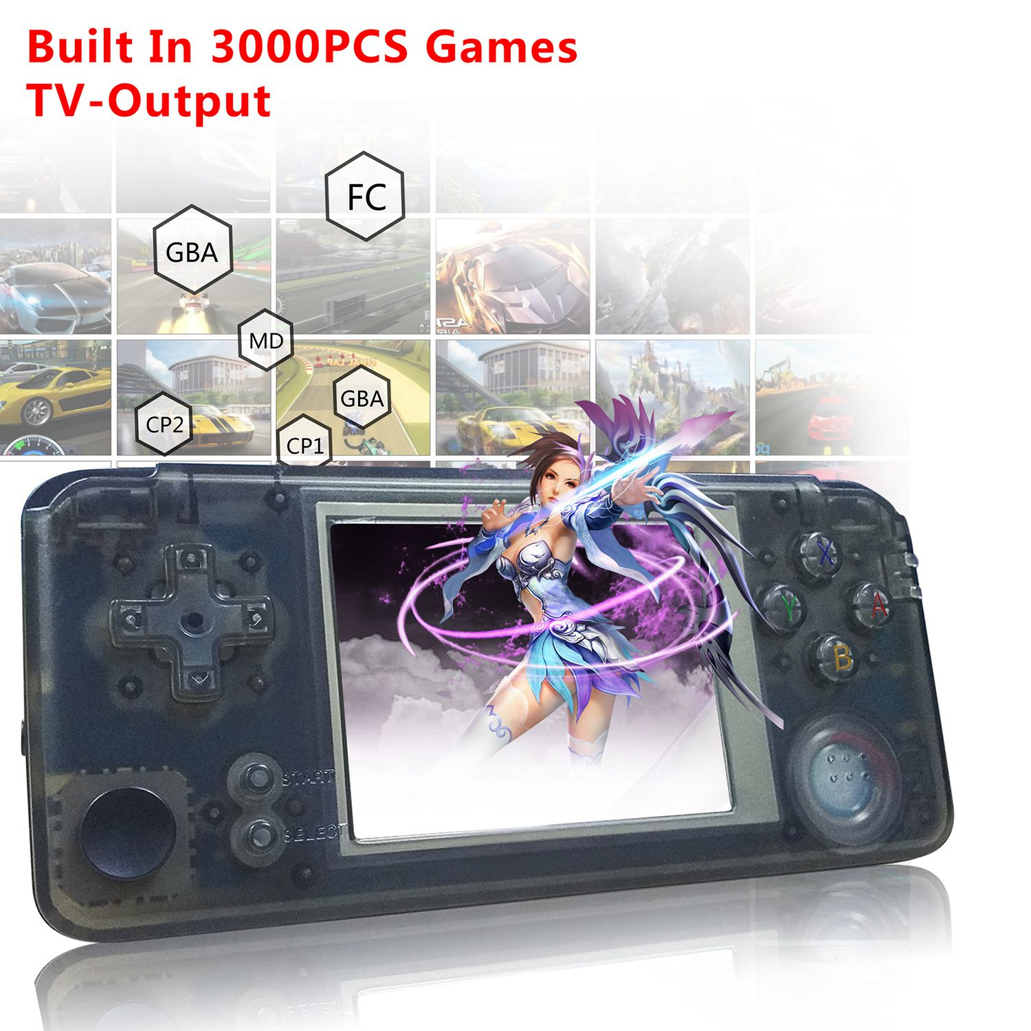 Powkiddy Retro Handheld Game Console 16GB 3inch Portable Mini Video Gaming Players Built-in 3000 Games With 360 Degree ControlPowkiddy Retro Handheld Game Console 16GB 3inch Portable Mini Video Gaming Players Built-in 3000 Games With 360 Degree Control