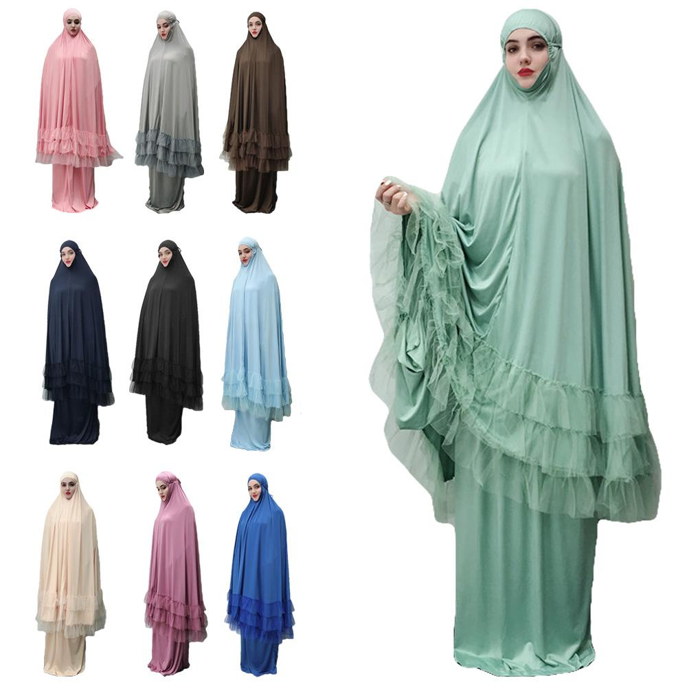 Ramadan Abaya 2 Pieces Hijab Dress Muslim Prayer Khimar Lace Overhead Kaftan Jilbab Islamic Clothing Arab