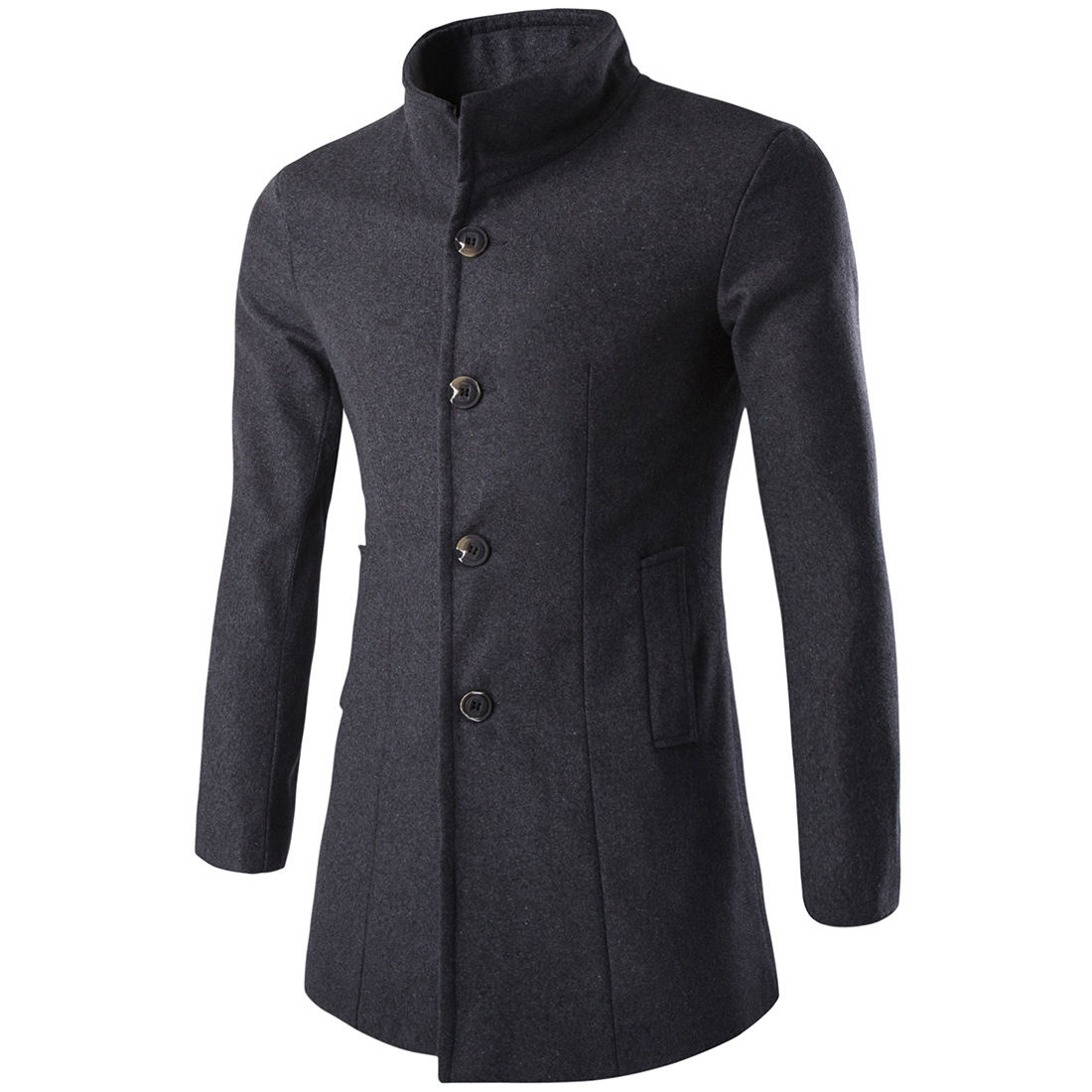 Men Coats Autumn Fashion Jacket Solid-Wool-Blend Single-Breasted Winter Casual Warm Slim