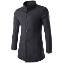 Casual Fashion Warm Long Wool Coat Slim Long Sleeve Solid Wool Blend Coat and Jacket Single