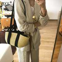 [BXX] Women's Single Shoulder Crossbody Bag All-match Flap 2019 Summer Portable Straw Weaving Package Female Beach Handbag HE782