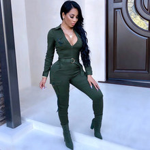 Female Cargo Military Jumpsuit Zip Long Pants Belt Tight Overalls Harajuku Women Trendy Skinny Romper Army Green Winter Outfits(China)