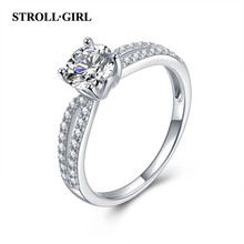 StrollGirl Real 925 Sterling Silver Double White Clear Cubic Zircon Finger Ring for Women Wedding Party Jewelry Free Shipping цена 2017